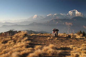Dhampus: views of Himalayan ranges including Annapurna south, Himchuli, Fishtail Mountain and beautiful landscape